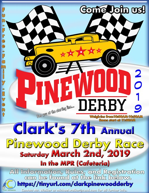 Clark's 7th Annual Pinewood Derby Race Flyer